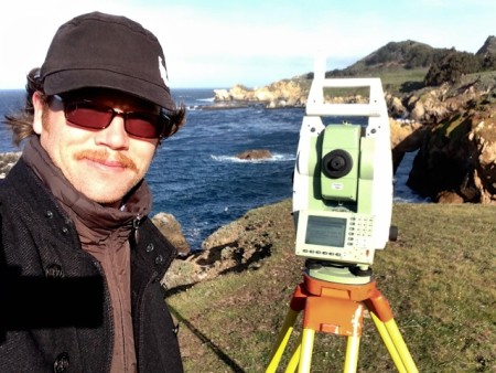 Precision Geosystems, Inc. President Will Haynes demonstrating a Leica robotic instrument in Big Sur, CA